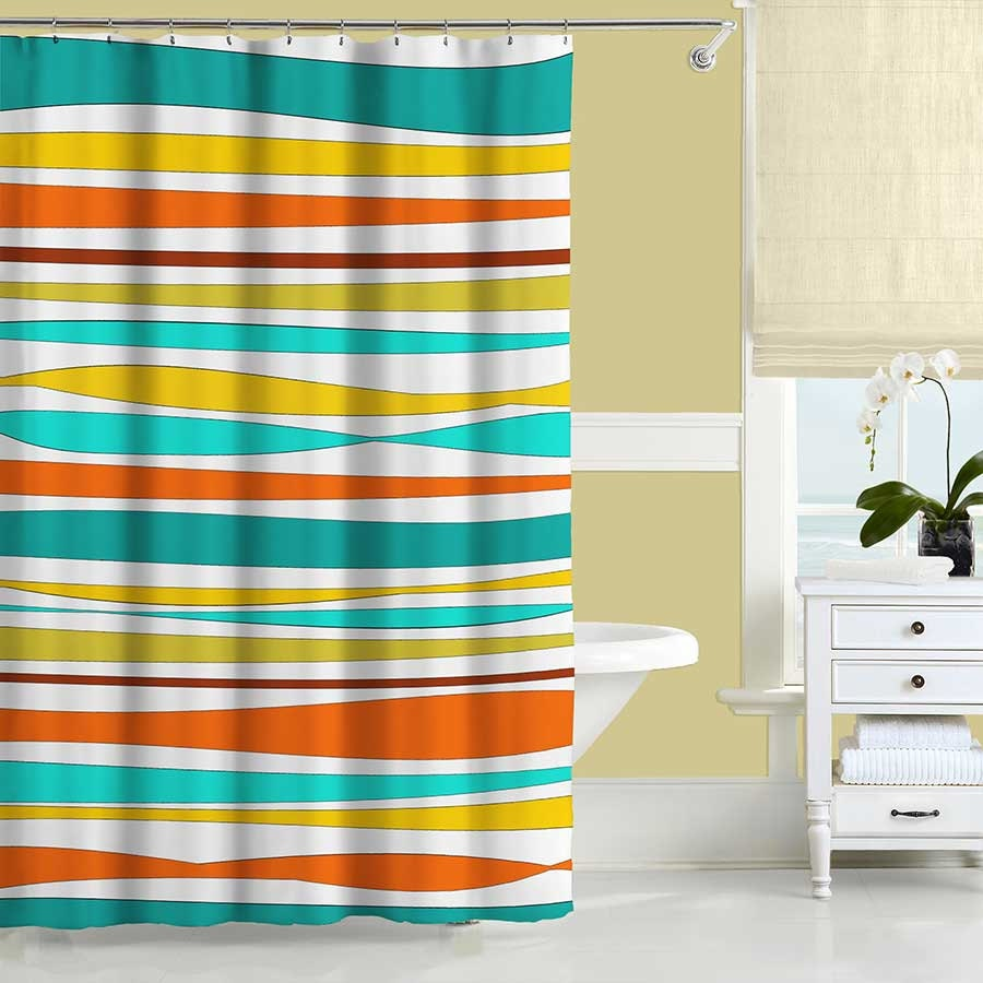 teal striped shower curtain.  zoom Colorful Shower Curtain Turquoise Teal Orange Yellow