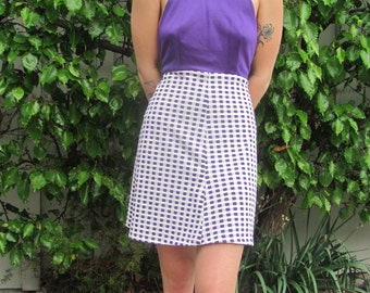 Super 70's Purple and White Halter Stretchy Dress
