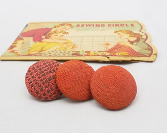 """3 Dark Orange Covered Buttons 1 1/4"""" -Fabric Covered Assorted Buttons, Vintage Covered Buttons"""