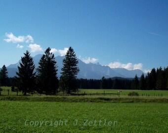 Bavarian Landscape, Germany, Photo Print, Alp