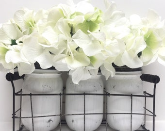 White Farmhouse Wire Basket with Set of 3 Jars - Painted Distressed Mason Jars - Table Centerpiece - Rustic Home Decor - Farmhouse - Country