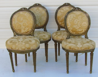 Antique French Louis Gilt Wood Chairs, set of 4  Paris Apartment French Chairs French Country Chairs French Gilt Dining Chairs Cottage Chair