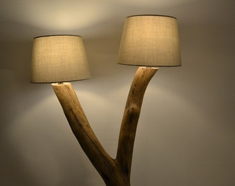 wooden floor lamp with cement base
