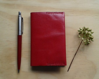 Red leather  A7 pocket sized notebook cover
