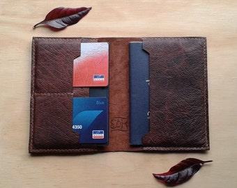 Kangaroo leather passport wallet in rugged brown
