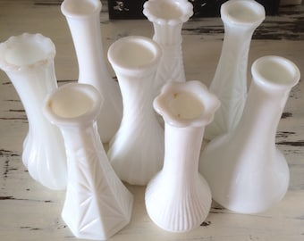 Lot of 8 Assorted Small Milk Glass Vases, White Wedding Centerpiece, Milk Glass Bud Vases