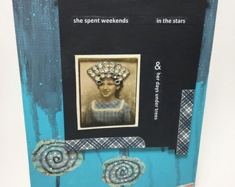 She Spent Weekends In The Stars handmade mixed media collage