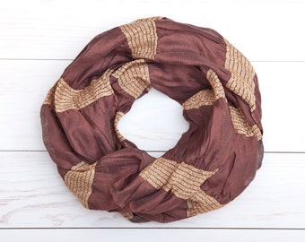 Brown Gold Scarf, plaid scarf, valentines gift, Womens Accessories, Spring Summer Scarf, For He