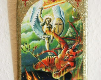 Small size...St.Michael Defeats the Devil, Wall Plaque