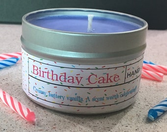 SALE ** Birthday Candle, Birthday Cake,  Soy Candle, Vanilla Candle, Birthday Gift, Gift for Mom, Bakery, Candle Favors