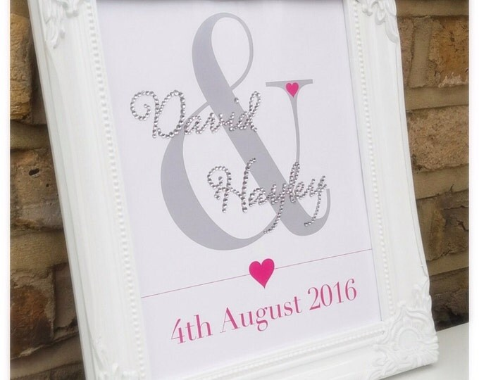 Personalised crystal couples framed print | Wedding gift | Anniversary gift | Sparkle | ShabbyChic | Custom prints.