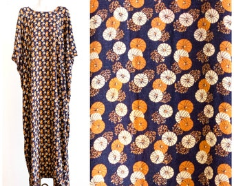 Brown caftan cover up with pinwheel flower pattern