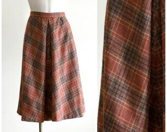 70s burnt orange a-line skirt