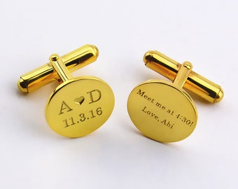 Gold Personalized Wedding Cufflinks,Date and Initials Cufflinks,Custom Engrave Cufflinks,Personalized Groom Cufflinks With Heart,Men Gifts