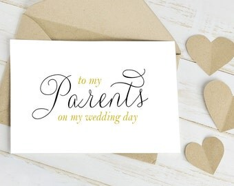To My Parents On My Wedding Day Greeting Card - Card is Blank Inside for Your Message to your Mum and Dad