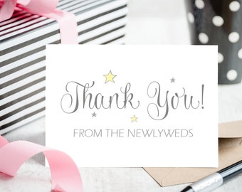 Thank You from the Newlyweds Wedding Card - Blank Card with Matching Envelope to Write Your Personal Message However You Wish