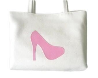 White and Pink Stiletto Shoe Applique White Faux Vegan Leather Tote Bag