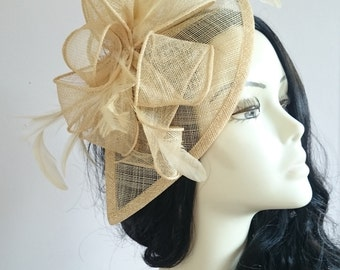 Gold Sinamay Teardrop Fascinator With Feathers Weddings-Ascot-Races-Ladies Day