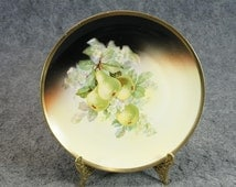 Three Crown China Germany Porcelain Plate & Pear Tree C. 1910s