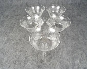 5 Heisey Etched Crystal 'Orchid' Champagne/Tall Sherbert Glasses