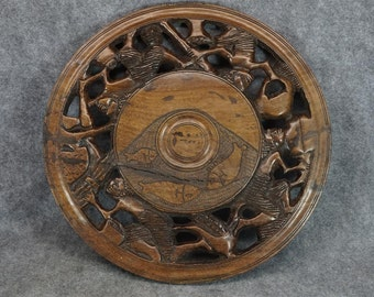 Vintage Wood Carved Wall Mount Plate