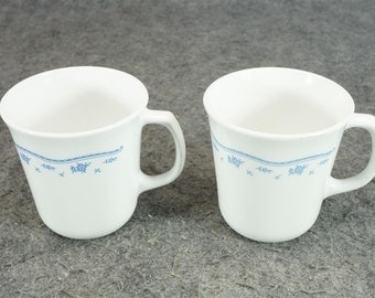 Morning Blue Pattern Coffee Mugs X2 C. 1980's