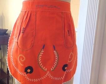 Vintage Portugal Orange Apron - hand stitched - Portugal Apron