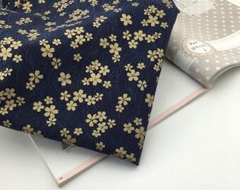 1/2 Yard Cotton Fabric/Sakura Flower Design Fabric/Patchwork Fabric /Quilted Fabric/Handmade Fabric/navy blue