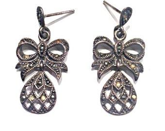 Vintage Sterling & Marcasite Bow Post Earrings