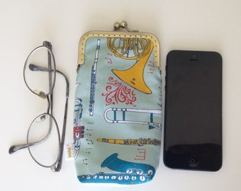 Music eyeglasses case -Handmade fabric ipnone case - Music instruments metalframe pouch -Iphone6 pouch; gadget holder -Women's gift