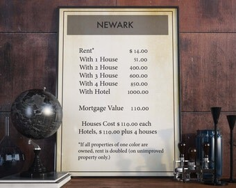 Monopoly Poster| Newark| Board Game Gift| Monopoly| Game Room Wall Decor| Newark Poster| Monopoly Decor| Monopoly Themed| Board Game Geek