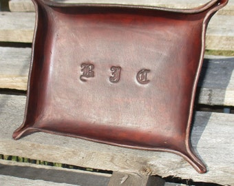 Personalized Leather Valet Tray. Dresser Tray, Desk Tray, Change tray, leather bowl, trinket tray