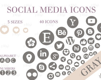 Social Media Icons Set Gray Download