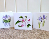 Spring Flowers Collection Greetings Cards, Pack of 3 different cards, Watercolour prints