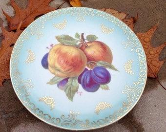 Vintage Mitterteich Bavaria 7 1/2 Inch Apple & Plum Plate - Free Shipping