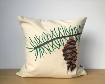 Pine tree pillow, pine tree pillow cover, pine cone pillow, custom pillow, throw pillow, hand painted pillow cover, housewarming gift