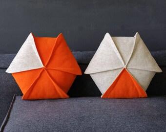 """Throw Pillow Set of 2 / Orange Pillow / Geometric Pillow / Living Room Decor / Modern  Pillow / Hexagon / 18"""" x 18"""""""