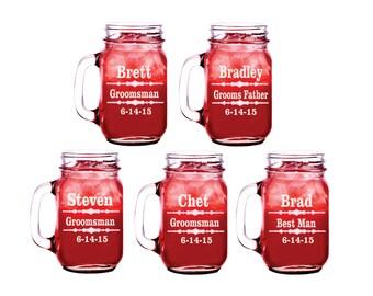 Mason Jar, 7 Personalized Mason Jar,  Groomsman Gift, Wedding Mason Jars, Mugs (A)