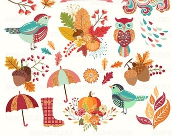 "Fall clipart: ""AUTUMN CLIPART"" with autumn clip art, autumn leaves, leaf clipart, acorn clipart, owl clipart, 19 images, 300 dpi. PNG files"