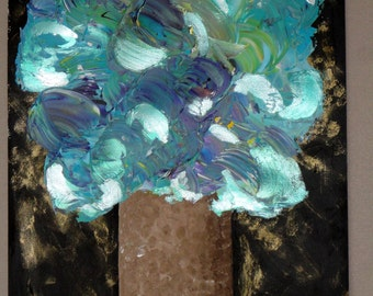 abstract painting acrylic blue flower bouquet