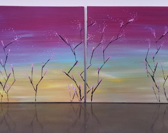 table diptych abstract modern art series the flowering trees