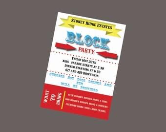 Block Party Invitation, Neighborhood Party