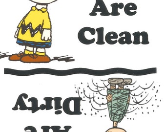 Charlie Brown,  Dishes Are Clean~Dishes Are Dirty Dishwasher Fridge Magnet   NEW LARGER SIZE !!