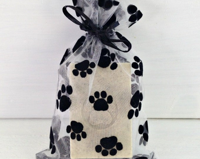 Paw Print Organza Bag, 4x6 Paw Print Bag, Gift Bag For Pet Lovers, Pet Treat Bag, Paw Print Favor Bag, Velvet Paw Print Bag, Cute Pet Bag