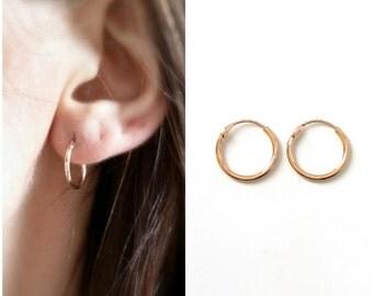 Hoop earrings, gold-plated 750/000 - earrings small Creole, gold plated rings 18 k - Little Earrings hoop 750 gold plated