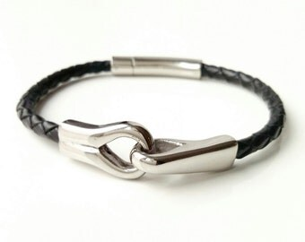 Bracelet - braided black leather and stainless steel - man Men steel and leather bracelet bangle