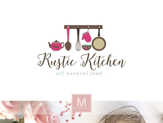 Kitchen logo food logo design boutique logo rustic kitchen for Kitchen decoration logo