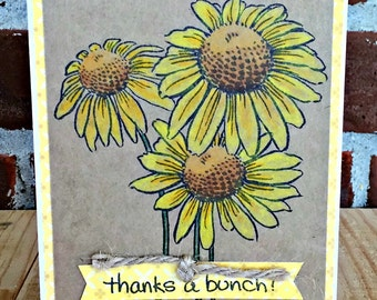 Thank You Card | Sunflower Card | Handmade Card | Blank Note Card | Appreciation Card