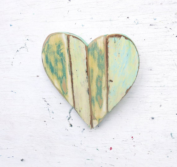 Green mosaic heart nursery decor heart wall decor reclaimed for Wooden heart wall decor