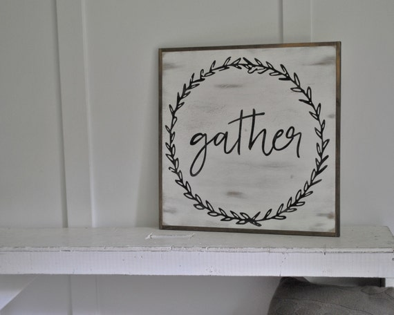 GATHER 2'X2' sign | distressed shabby chic painted wooden sign | farmhouse decor wall art | dining room | kitchen | family room